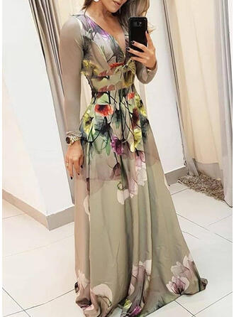 Print/Floral Long Sleeves A-line Party/Elegant Maxi Dresses
