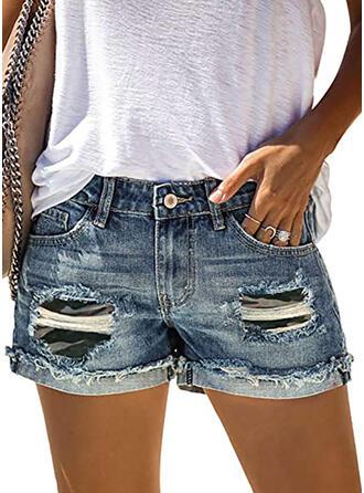 Camuflaje Algodón Casual Clásico Bolsillo rasgados Botones Pantalones Pantalones cortos Vaqueros