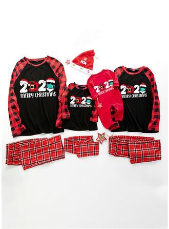 Pläd Brev Print Matchande familj Jul Pyjamas