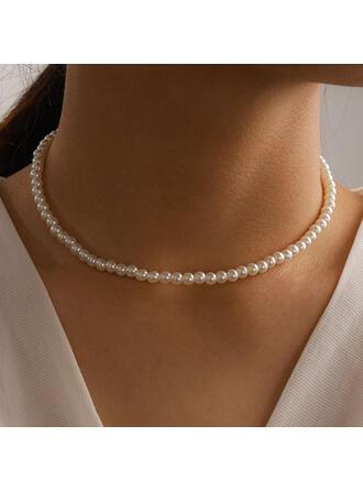 Lysande Legering med Fauxen Pärla Kvinnor Damer' Halsband