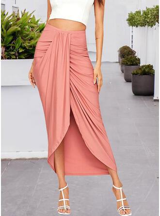 Bavlna Jednobarevný Asymetrické Úzké sukně