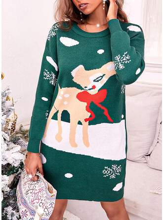 Christmas Print Deer Snowflake Round Neck Casual Sweater Dress