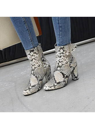 Women's Leatherette Chunky Heel Boots Pointed Toe With Buckle Splice Color shoes