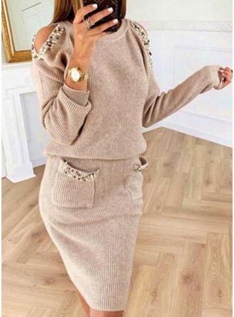 Sólido/Com pedraria Manga Comprida/Manga com Ombros à Mostra Bodycon Comprimento do joelho Casual Suéter Vestidos