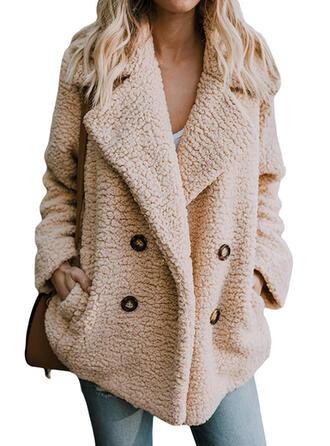De lana Manga larga Color sólido Abrigo de piel sintética