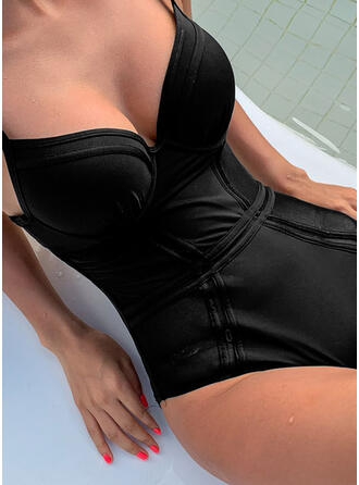 Solid Color Push Up Strap V-Neck Sexy One-piece Swimsuits