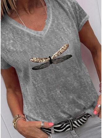 Nadruk Zwierzęcy Dekolt w kształcie litery V Krótkie rękawy T-shirty