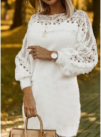 Csipke/Egyszínű Hosszú ujjú Ingruha Térd feletti Elegáns Sweter φορέματα