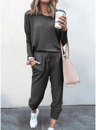 Pevný Neformální top typ & Dvoudílné outfity Set ()