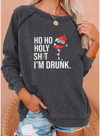 Print Sequins Figure Round Neck Long Sleeves Christmas Sweatshirt