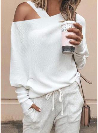 Solid One-Shoulder Long Sleeves Casual Elegant Knit Blouses