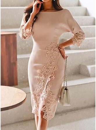 Koronka/Jednolita Rękawy 3/4 Bodycon Długośc do kolan Elegancki Ołówkowa Sukienki