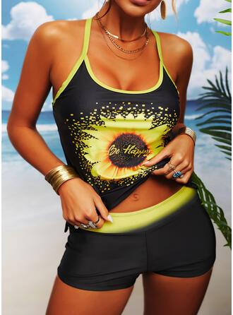 Tryck Rem U-ringning Sexig Tankinis Badkläder