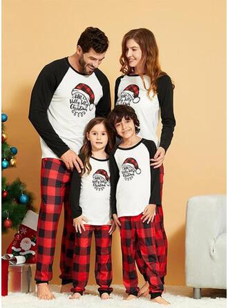 Couleur-Bloc Plaid Letter Tenue Familiale Assortie Pyjama De Noël