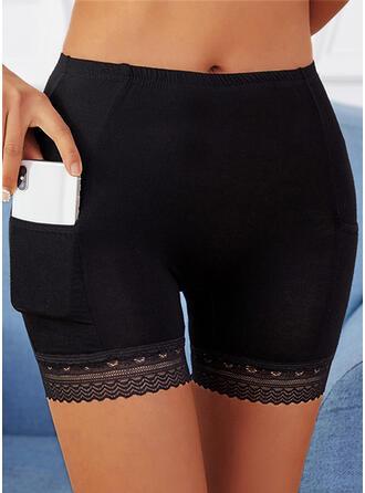 Sólido Encaje Por encima de la rodilla Casual Bolsillo Pantalones Pantalones cortos Polainas