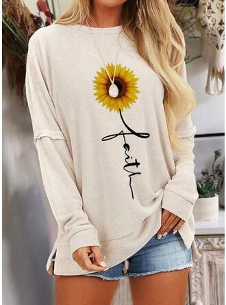Impresión de girasol Cuello Redondo Manga Larga Camisetas