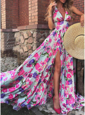 Nadrukowana/Kwiatowy Bez rękawów W kształcie litery A Łyżwiaż Przyjęcie Maxi Sukienki