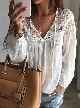 Koronka Dekolt w kształcie litery V Długie rękawy Casual Elegancki Bluzki