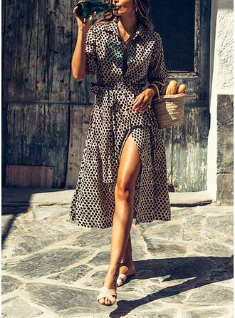 Impresión/Leopardo Mangas 3/4 Acampanado Casual/Vacaciones Midi Vestidos