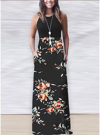 Impresión/Floral Sin mangas Acampanado Casual Maxi Vestidos