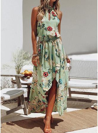 Estampado/Floral Sem mangas Evasê Assimétrico Casual/Férias Vestidos