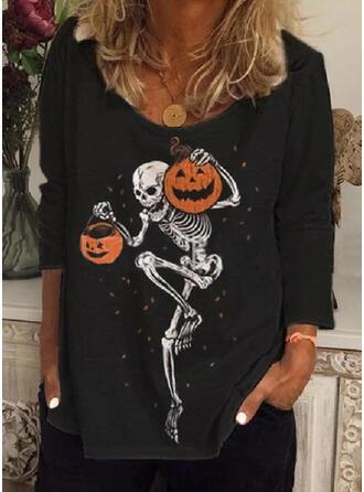 Tisk Kulatý Výstřih Dlouhé rukávy Neformální Halloween Trička