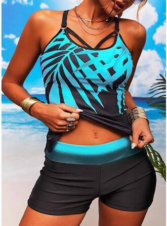 Löv Tryck Rem U-ringning Sexig Tankinis Badkläder