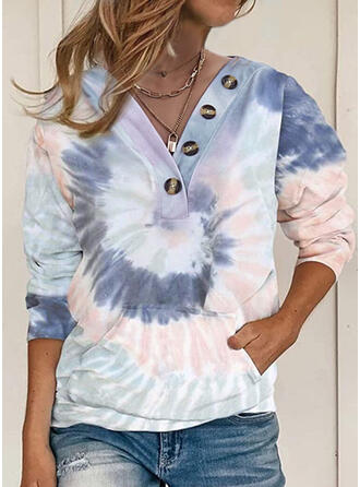 Tie-Dye Les poches Col V Manches longues Sweat-shirts