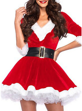 Color Block 1/2 Sleeves A-line Above Knee Christmas Dresses
