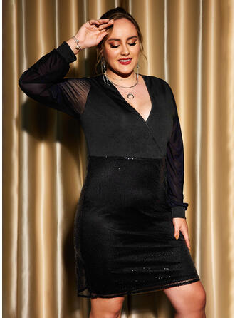 Solid Sequins Long Sleeves Sheath Knee Length Little Black/Party/Plus Size Dresses