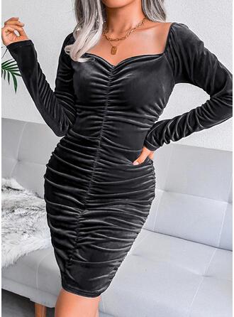 固体 長袖 シースドレス 膝上 リトルブラックドレス/カジュアル ドレス