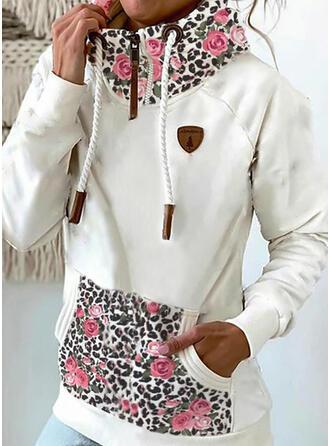 Stampa Floreale leopardo tasche Maniche lunghe con cappuccio