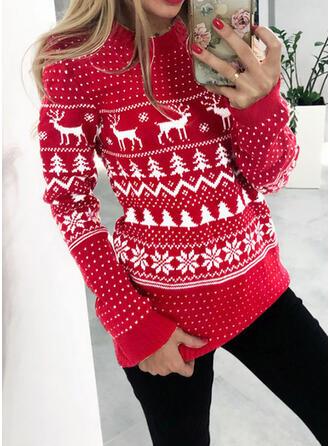 Zwierzęcy Kerek nyak Hétköznapokra Karácsony πουλόβερ