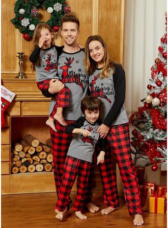 Reno Color-Block Tela Escocesa Carta Familia a juego Pijamas De Navidad
