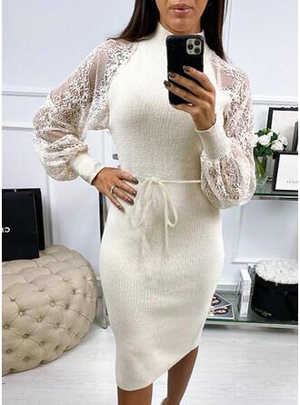 Sólido Cuello de Soporte Vestido de Suéter