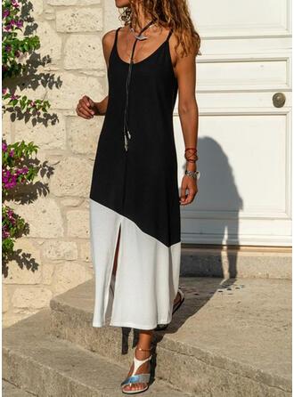 カラーブロック ノースリーブ シフトドレス スリップ カジュアル ミディ ドレス
