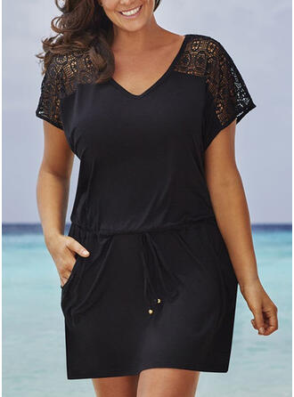 Tallas Grande Encaje Sólido Manga Corta Cubierta Sobre la Rodilla Casual Pequeños Negros Vacaciones Vestido