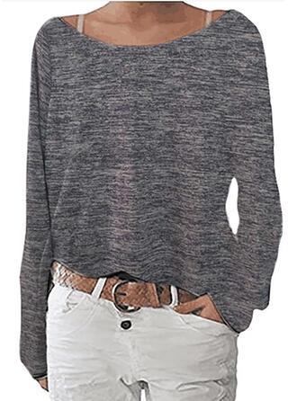 Sólido Cuello redondo Manga Larga Casual Blusas