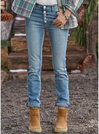 Solid Denim Long Casual Plus Size Pocket Button Denim & Jeans