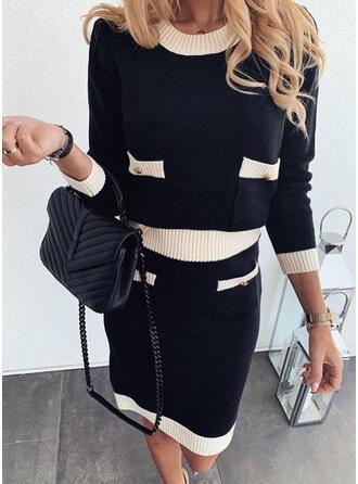 Colorblock Hosszú ujjú Ingruha Térdig érő Hétköznapokra Sweter φορέματα