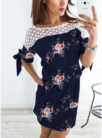 Encaje/Impresión/Floral Mangas 1/2 Cubierta Sobre la Rodilla Casual Vestidos