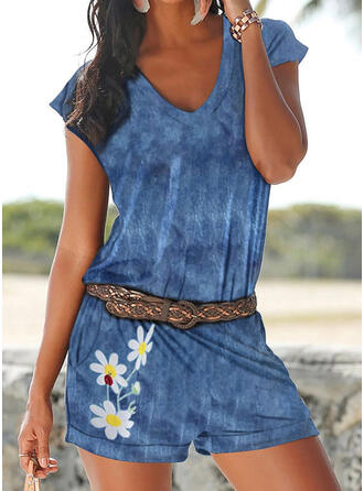Floral Print V-Neck Short Sleeves Casual Vacation Romper