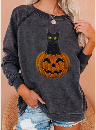 Motif Animal Halloween Col rond Manches longues Sweat-shirts