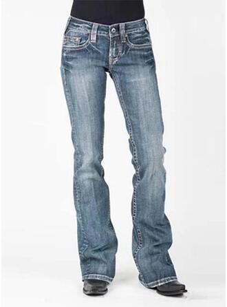 fickor Shirred Extra stor storlek Lång Elegant Sexig Denim & Jeans