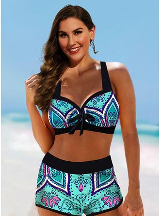 Tryck Grimma Sexig Extra stor storlek Boho bikini Badkläder