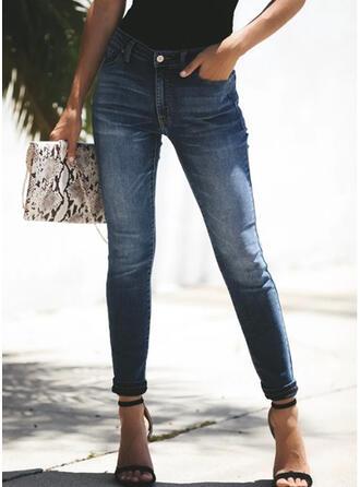 Shirred Extra stor storlek Sexig Årgång Denim & Jeans