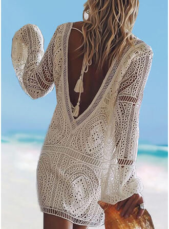 Solid Color Long Sleeve V-Neck Sexy Boho Cover-ups Swimsuits