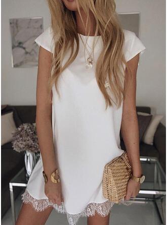 Lace/Solid Short Sleeves Shift Above Knee Little Black/Casual/Elegant T-shirt Dresses