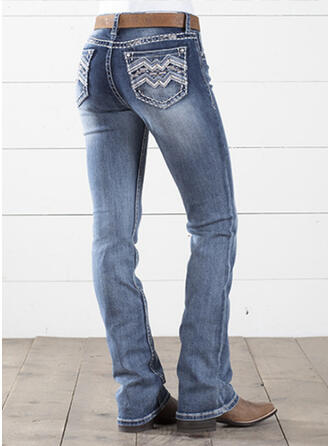 Broderi Shirred Extra stor storlek Elegant Årgång Denim & Jeans