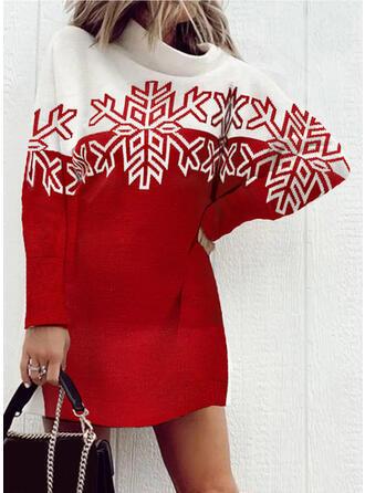 クリスマス 印刷/カラーブロック 長袖 ドロップショルダー シフトドレス 膝上 カジュアル セーター ドレス